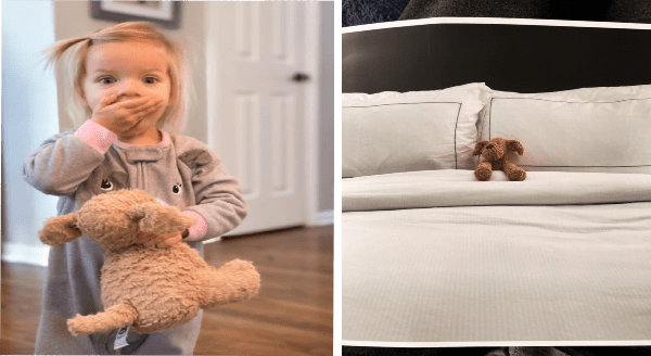Girl loses her beloved stuffed dog | young girl with spiky ponytail covering her mouth with one hand while holding a fluffy dog plushie in the other | tiny dog doll tucked in in a bed