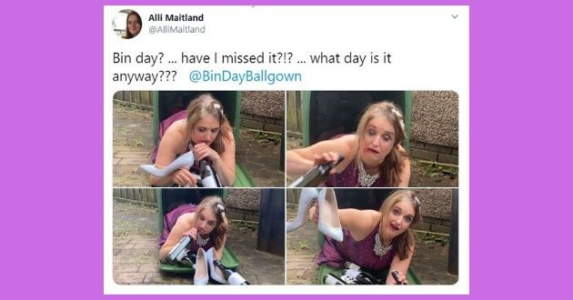 facebook ballgowns funny bins pictures coronavirus lockdown suit | Alli Maitland Bin day? ... have I missed it?!? what day is it anyway??? @BinDayBallgown woman taking out the trash