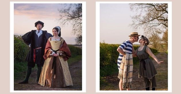 couple costume isolation instagram period walk coronavirus COVID-19 | couple dressed in tudor era outfits and victorian bathing suits
