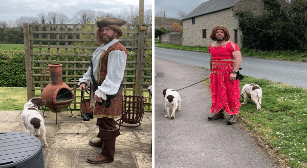 Guy Walks His Dogs Wearing a Crazy Costume Every Day To Cheer Up His Neighbors | guy dressed like a pirate holding two dogs on a leash | same guy wearing a wig and a red belly dancer costume