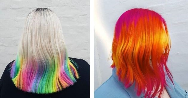 rainbow hair instagram hairdresser design salon model style | photo of the back of a person with platinum blonde hair at the top and rainbow colors at the bottom | red hair with yellow highlights
