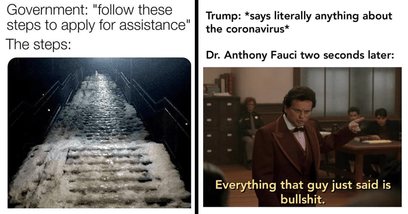 Funny memes about coronavirus, coronavirus memes, dank memes, stupid memes, dr. fauci, donald trump, lockdown memes, quarantine memes | Government follow these steps apply assistance steps: frozen staircase | Trump says literally anything about coronavirus Dr. Anthony Fauci two seconds later: Everything guy just said is bullshit.