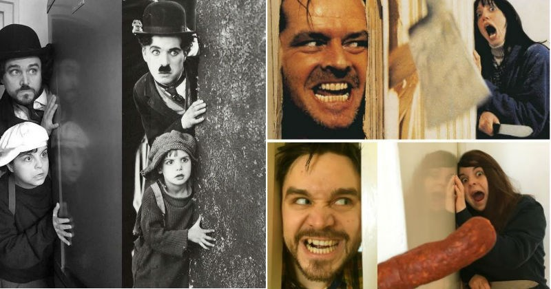 Couple recreates funny movies scenes, and hilarity ensues | Charlie Chaplin peeking around a wall black and white | Jack breaking through the bathroom door and Wendy screaming in The Shining