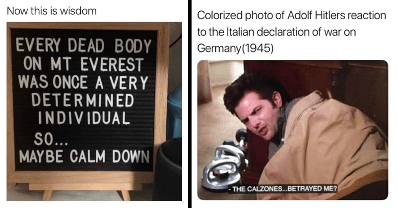 Funny comics funny memes, random memes, no mention of coronavirus | Now this is wisdom EVERY DEAD BODY ON MT EVEREST ONCE VERY DETERMINED INDIVIDUAL S0 MAYBE CALM DOWN | Colorized photo Adolf Hitlers reaction Italian declaration war on Germany(1945 CALZONES BETRAYED ?
