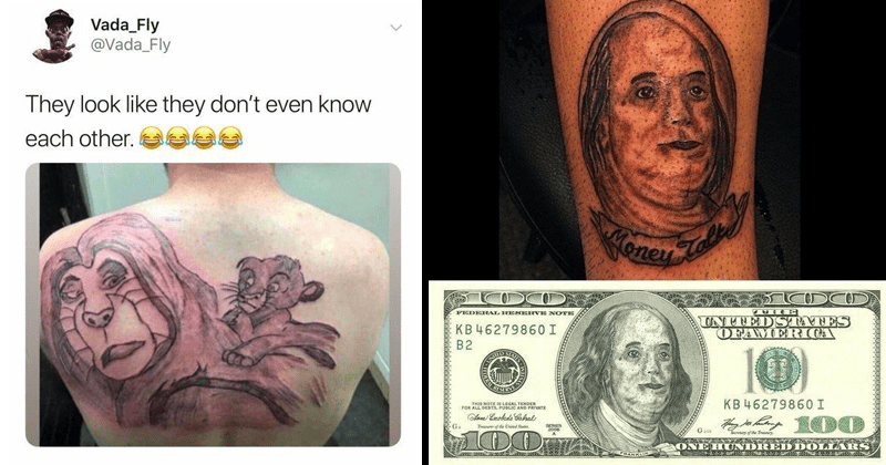 Funny cringey pics, cringe pics, tattoos, cringey tattoos | Vada_Fly @Vada_Fly They look like they don't even know each other. aak 2:44 PM 7/22/19 Twitter iPhone The Lion King Simba | Benjamin Franklin portrait on a 100 dollar bill