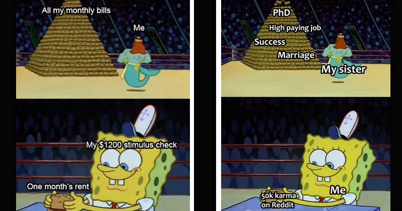 "Funny dank memes entitled, ""King Neptune vs. Spongebob"" mountain of hamburgers vs a single one made with love 