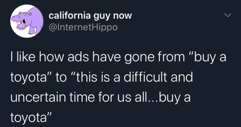 funny random tweets, twitter memes, silly memes, dank memes | california guy now @InternetHippo like ads have gone buy toyota this is difficult and uncertain time us all buy toyota 10:32 AM 4/14/20 Twitter iPhone