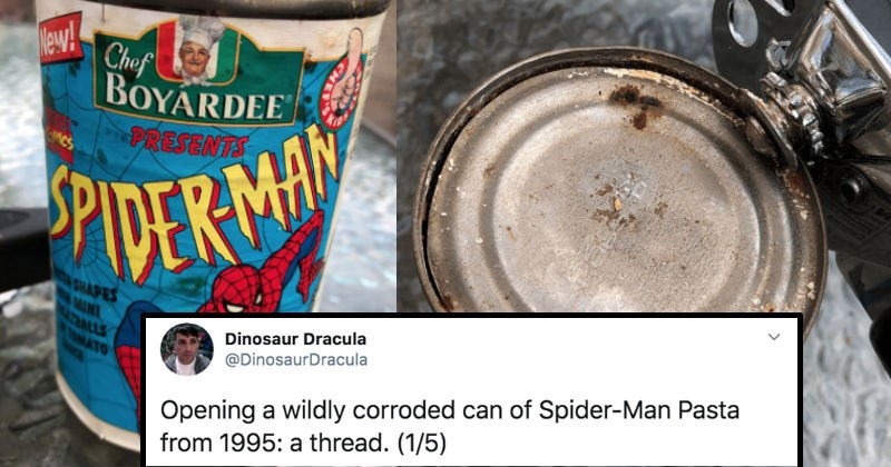 A wildly corroded can of Chef Boyardee from 1995 gets opened | Dinosaur Dracula Opening wildly corroded can Spider-Man Pasta 1995 thread 1/5 DinosaurDracula New! Chef BOYARDEE PRESENTS MCS PIDER MAN NTA SHAPES ATBALLS OMATO