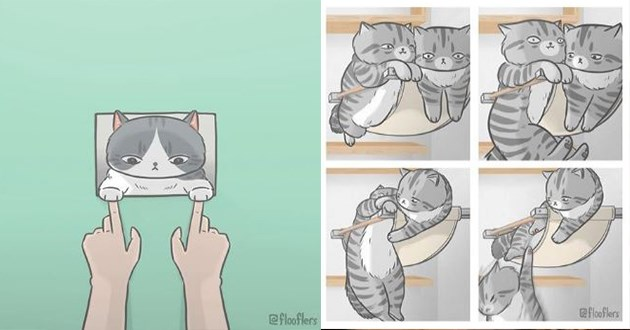 cats instagram art cute funny gifs vids pics illustrations popular aww lol animals | adorable cartoon cat touching paws with a human's hands | cat pushing second cat from a hammock