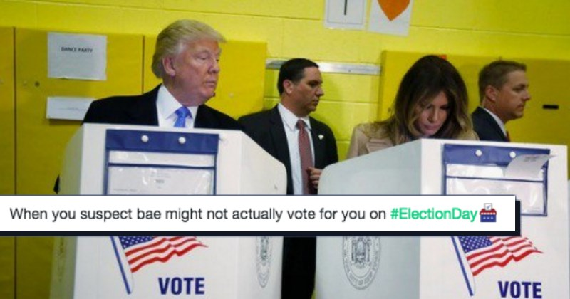 Speculation abounds as Donald Trump eyes Melania in the voting booth right next to his