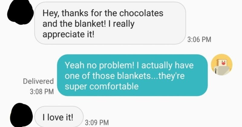 Woman asks coworker for expensive tablet and melts down after being rejected | Hey, thanks chocolates and blanket really appreciate 3:06 PM Yeah no problem actually have one those blankets they're super comfortable Delivered 3:08 PM love 3:09 PM