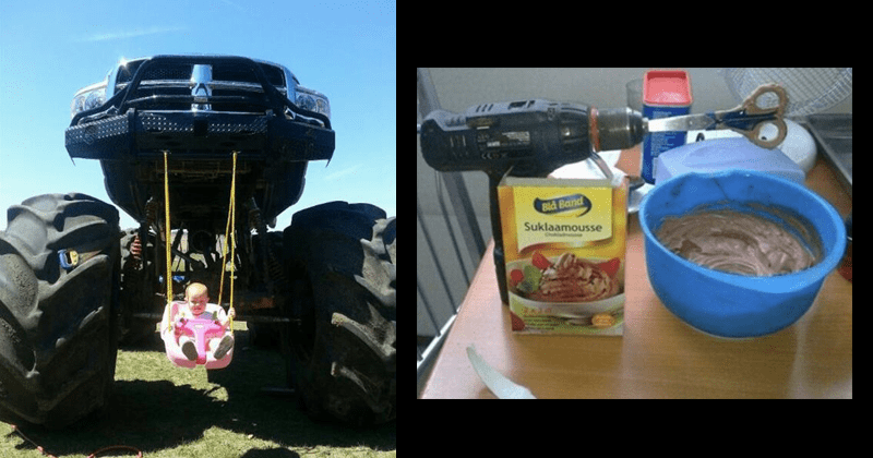 Funny and inventive life hacks, engineering | child sitting in a swing hanging from a monster truck on big wheels | using a power drill to mix mousse