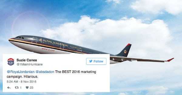 funny message from airline related to trump being elected