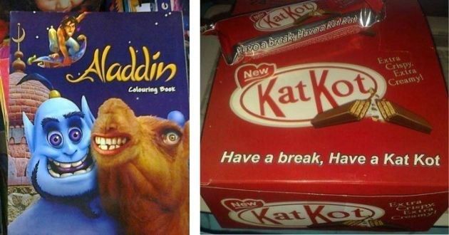 knockoff products bad funny pics pictures | Aladdin Colouring Book The Genie and a camel with bulging eyes | kit kat New KatKop Pave breakk Have akatRe New KatKot Extra Crispy Extra Creamy! Have break, Have Kat Kot New KatKoDS ExtrL Crispy Extra Croa ny!