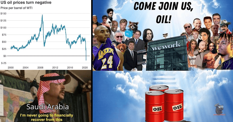 Funny and dank memes about the oil crash of 2020, oil less than $0 USD | US oil prices turn negative Price per barrel WTI $150 $125 $100 $75 $50 $25 $0 S-25 2000 2004 2008 2012 2016 2020 Saudi Arabia never going financially recover this | heaven window COME JOIN US, OIL! wework 24 OIL OIL WALLTT