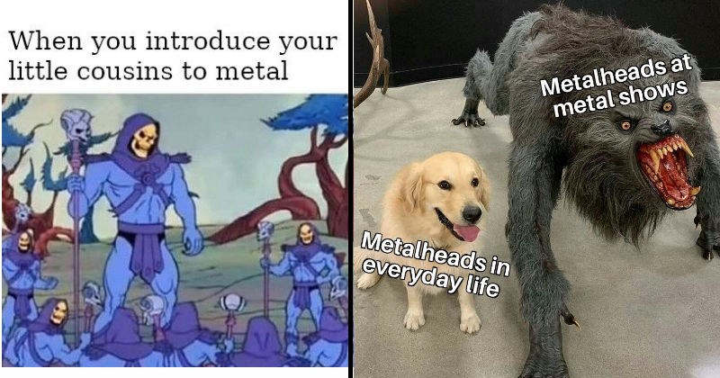 Funny metal music memes and jokes | he-man skeletor introduce little cousins metal | adorable golden retriever dog vs werewolf Metalheads at metal shows Metalheads everyday life