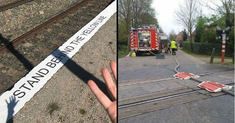 Stupid professional mistakes that were someone's one job | stand behind the yellow line at a train station but the line is white | firefighters water hose over train tracks