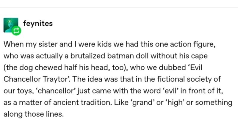 Creative Tumblr story about an unsung hero with a heart of gold   feynites my sister and were kids had this one action figure, who actually brutalized batman doll without his cape dog chewed half his head, too who dubbed 'Evil Chancellor Traytor idea fictional society our toys chancellor' just came with word 'evil front as matter ancient tradition. Like 'grand' or 'high' or something along those lines.