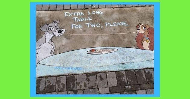 female artist disney cartoons mom neighborhood instagram chalk sidwalk social distancing coronavirus quarantine neighbors | EXTRA LONG TABLE TWO, PLEASE disney lady and the tramp