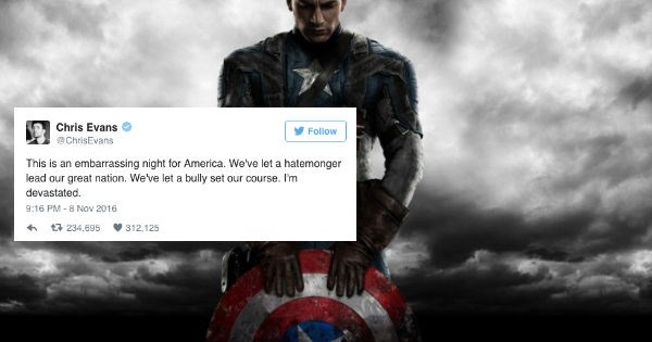 twitter,donald trump,Hillary Clinton,election 2016,reactions,captain america,celeb,chris evans,election,politics