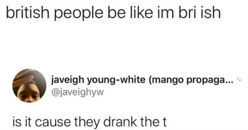 funny stupid puns and wordplay | Beans After Dark @goodbeanalt british people be like im bri ish javeigh young-white (mango propaga javeighyw is cause they drank t
