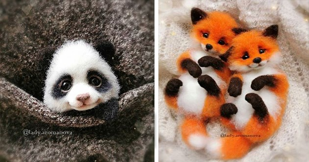 felt animals art artist aww cute foxes baby animal cuteness | adorable tiny fabric dolls toys shaped like a small panda bear peeking from a pocket and two foxes snuggled together on their backs