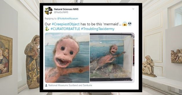 museum creepy exhibit competition twitter scary gross | Natural Sciences NMS @NatSciNMS Replying YorkshireMuseum Our #CreepiestObject has be this 'mermaid CURATORBATTLE #Troubling Taxidermy MERMAID ALMTEXTINGr National Museums Scotland and Sankurie 1:00 PM Apr 17, 2020 Twitter iPhone 523 Retweets 4K Likes