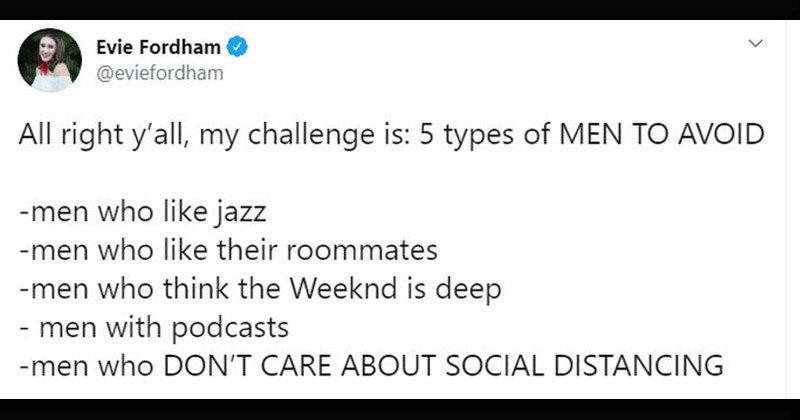 "Funny tweets about the ""5 Types of Men to Avoid"" challenge 