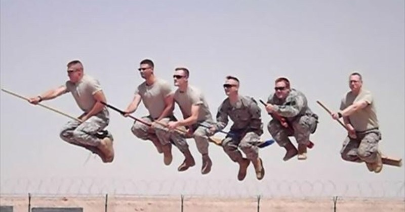 A collection of images showing various military members being weird | six men in casual military clothes filmed at the right moment looking like they're riding flying brooms