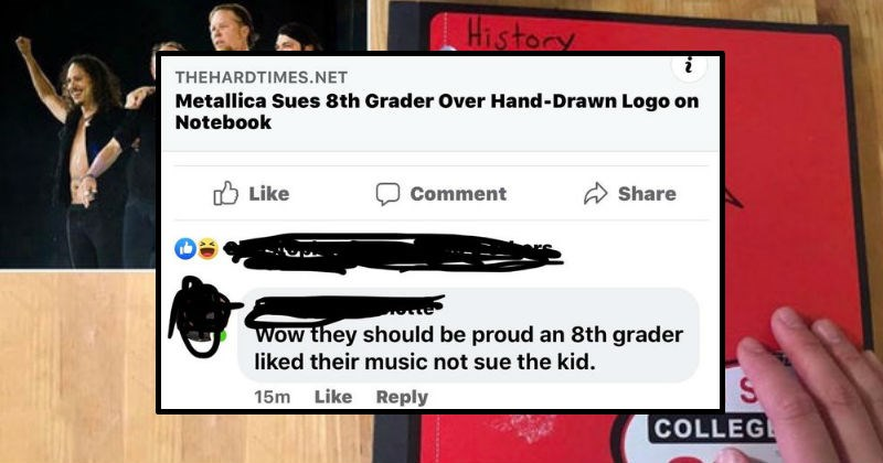 People who didn't understand joke headlines and satirical news | History Metallica FLIGHT 1 S COLLEGE THEHARDTIMES.NET Metallica Sues 8th Grader Over Hand-Drawn Logo on Notebook O Like Comment Share Wow they should be proud an 8th grader liked their music not sue kid. 15m Like Reply