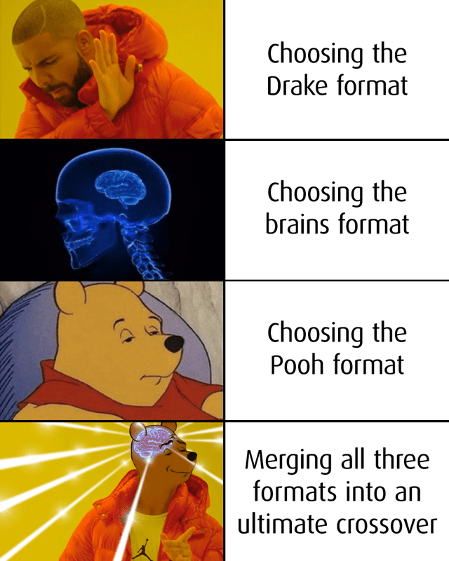 top ten 10 dank memes daily | drakeposting Choosing Drake format Choosing brains format Choosing Pooh format Merging all three formats into an ultimate crossover