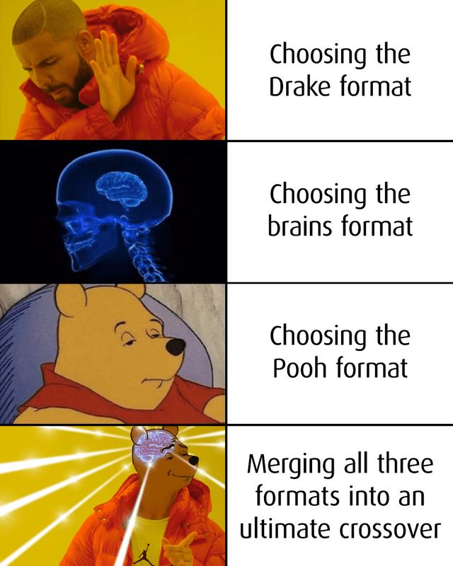 top ten 10 dank memes daily | drakeposting Choosing Drake format Choosing brains format Choosing Pooh format Merging all three formats into an ultimate crossover