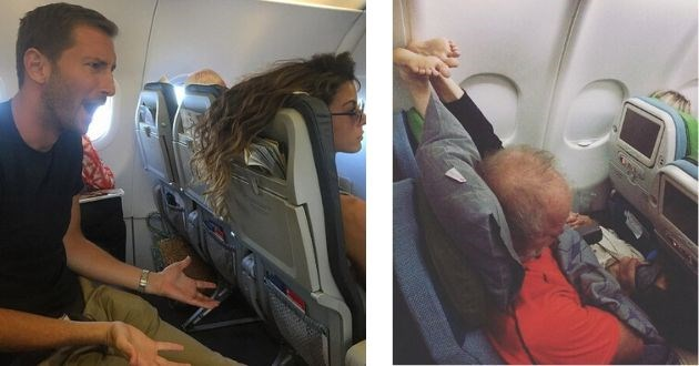 plane passengers reminder pictures airplane funny reminder flight flying nightmare | man in shock over the person in the seat in front of him throwing their hair back over his screen | person sleeping upside down in a chair with their legs in the air