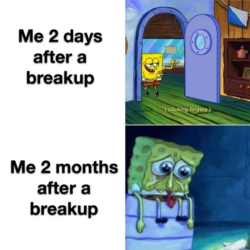 top ten 10 spongebob squarepants memes of the week | 2 days after breakup clicking fingers 2 months after breakup