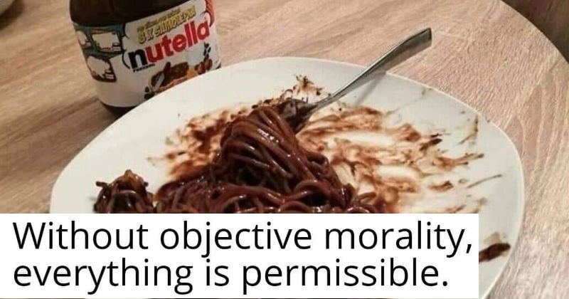 Uncomfortable images and gross cursed food | Without objective morality, everything is permissible. nutella spaghetti
