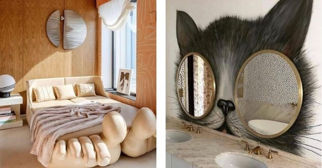instagram interior design absurd fail decor | bed frame with giant human toes | two round circle mirrors on a bathroom wall serving as eyes to the creepy cat art drawn on the wall