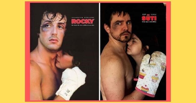 quarantined couple reenact movie scenes facebook iconic reenactment home | SÜTI SYLVESTE STALLONE ROCKY TE ST boxer wearing an oven mitten