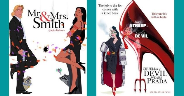 artist movie posters disney popular instagram actor | Pocahontas Mr Mrs. Smith @apicollodraws | Cruella Deville job die comes with killer boss. This year 's hell on heels. Meryl STREEP Crella DE VIL DC CRUELLA DEVIL PRADA WEARS @apicollodraws