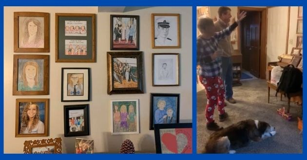 daughter parents replace photos prank family crayons Facebook drawing funny | wall of framed childrens drawings | people looking at a wall in surprise