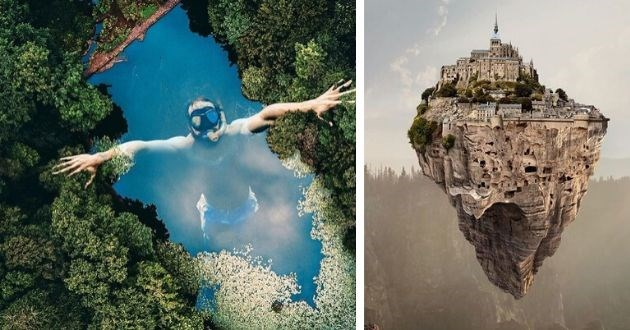 artist breathtaking art dreams instagram turkish imagination pictures creative | diver swimming toward the surface of the water in a pond reflecting the sky | city on a floating rock cliff