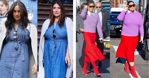 woman outfits celebrities size style copy fashion influencer plus size style inspired | Meghan Markle in a denim dress under a beige blazer | Victoria Beckham in a purple sweater and long red skirt
