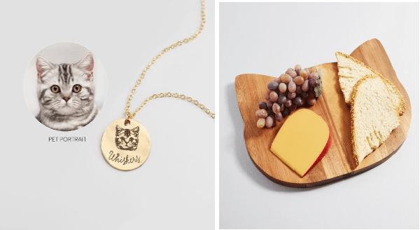 Gift ideas for cat moms | gold pendant engraved with the portrait of a cat and the name Whiskers written in cursive | cutting board shaped like a cat head with cheese bread and grapes served on it