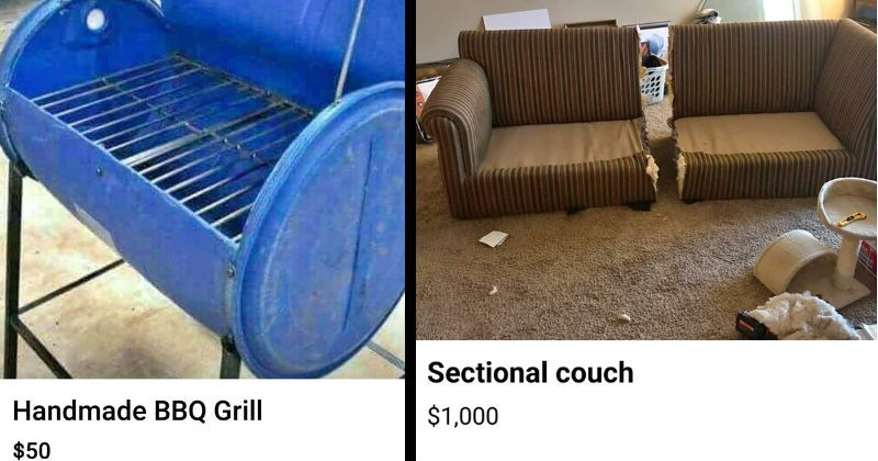 Weird things people tried selling online | Handmade BBQ Grill $50 Listed 3 days ago Raleigh, NC Send seller message Is this still available? Send | Sectional couch $1,000 Listed over week ago Marysville, OH Send seller message Is this still available? Send