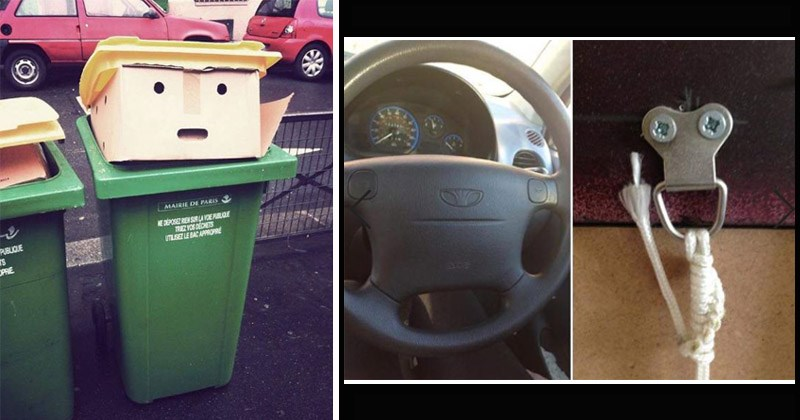 Funny pictures of objects that look like faces | cardboard boxes in a green trash can that look like donald trump's head | steering wheel in a car that looks like a face and a rope tied to a hook that looks like it's flipping the bird