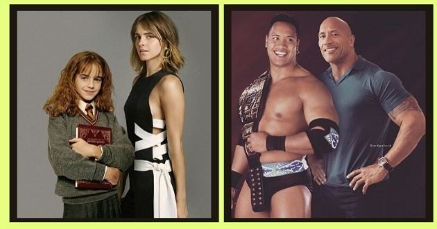 instagram celebrities photoshop younger photo artist side by side | Hermione Granger Emma Watson Dwayne The Rock Johnson