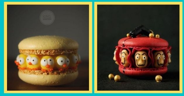 baker beautiful macarons instagram breathtaking baking art food | cute adorable baked desert tiny chicks baby ducks and the masks from Money Heist casa de papel