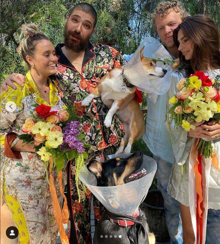 Cutest Wedding Ceremony for dogs | group of people in colorful clothes carrying big flower bouquets and two cute dogs in pet cones