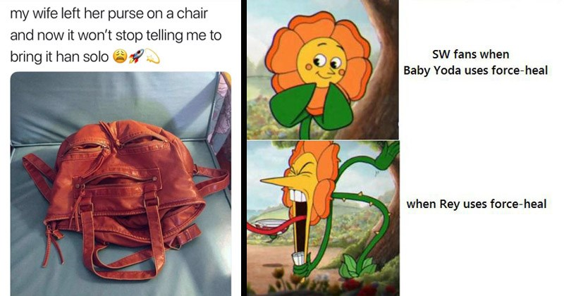 Funny Star Wars memes in honor of 'May the Fourth' | my wife left her purse on chair and now won't stop telling bring han solo Jabba the Hutt | sW fans Baby Yoda uses force-heal Rey uses force-heal Cuphead Flower / Cagney Carnation