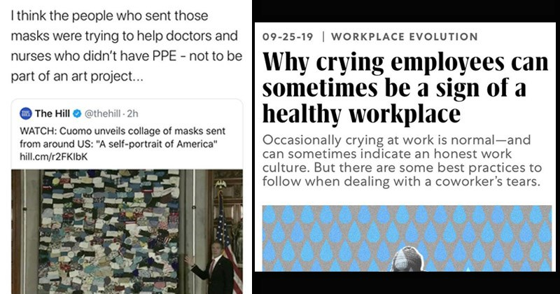 Posts about the strange times we're living in currently | think people who sent those masks were trying help doctors and nurses who didn't have PPE not be part an art project H Hill O @thehill 2h WATCH: Cuomo unveils collage masks sent around US self-portrait America"