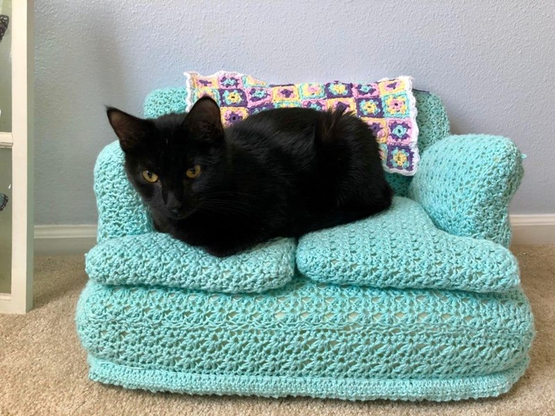 Tiny Crocheted Couches With Matching Little Granny Blankets | cute black cat cuddled up on top of a tiny miniature crocheted couch sofa